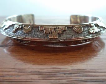 Vintage Navajo Richard Begay Sterling Silver 12K Gold Filled Story Teller Cuff Bracelet