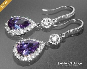 Amethyst Crystal Chandelier Earrings Purple CZ Bridal Earrings Amethyst Teardrop Earrings Sparkly Halo Wedding Earring Prom Amethyst Jewelry