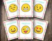 Printable Kid's Valentine's Day Cards, Emoji Valentines, Emoji Valentine Cards, Classmate Cards, Kids Teen Tween Valentine -INSTANT DOWNLOAD