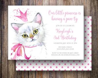 Cat Birthday Party, Cat Birthday Invitation, Princess Party, Birthday Party Invitation, Princess Kitty, Princess Birthday Invite, Pink