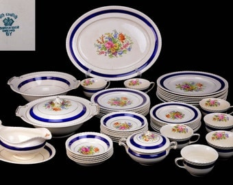 52 pc Johnson Brothers Ranalagh China Set Cobalt Blue Rim Floral Pattern England Old English