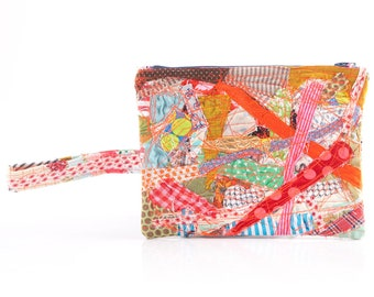 Crazy Patchwork , Make Up Bag , multi colour , Cosmetic Toiletry Bag , Zipper Pouch , Pencil Holder , Back To School , Student Equipment