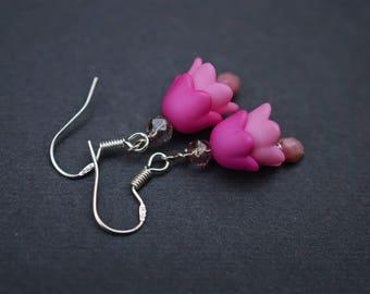 Pink Tulip Earrings,Ombre Earrings,Sterling Silver Earrings,Pink Earrings, Czech Earrings,Flower Earrings