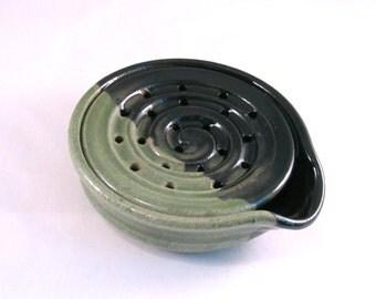 Soap Dish - Draining Soap Dish - Pottersong - Drain Tray - Soap Saver - Kitchen Bath - Handmade Pottery - One Piece - Green and Black