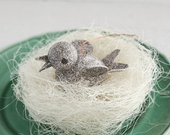 Vintage Bird Ornament - Glittered Paper Mache Easter Decoration