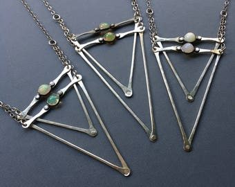Silver and Opal Double Dart Necklace