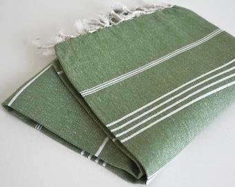 SALE 50 OFF/ Turkish Beach Bath Towel / Classic Peshtemal / Green / Wedding Gift, Spa, Swim, Pool Towels and Pareo