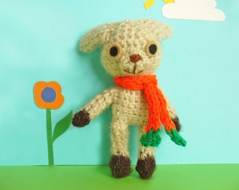 Sweet crochet bunny, amigurumi rabbit with carrot scarf, gift for Easter