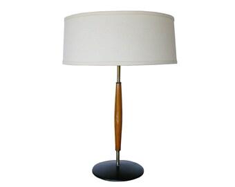 Mid-Century Modern Gerald Thurston Lightolier Teak Table Lamp
