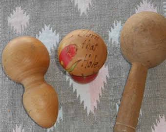 3 Unique Vintage Hand Crafted Sewing Mending Sock Darners and Needle Case Sewing Kit Pin Cushion, England, 30s-40s, Darning Mushrooms