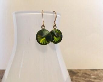 Olive Green Swarovski Rivoli Gold Drop Earrings