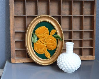 Oval Vintage Painting Velvet Mustard Yellow Green Gold Flowers Antique Picture Plastic Framed Wall Hanging Mid Century Single 1 Wall Art