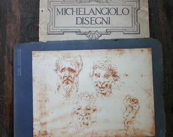 Michelangelo Red Chalk Drawing Four Masks/Grotesques Reproduction Print Fratelli Alinari