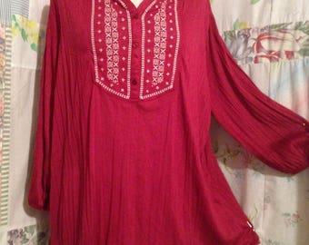 EXTRA LARGE  Blouse Embroidered Flowerchild Boho Hippie BohemianDark Red Top