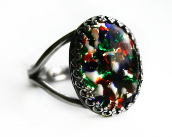 Harlequin Opal Ring