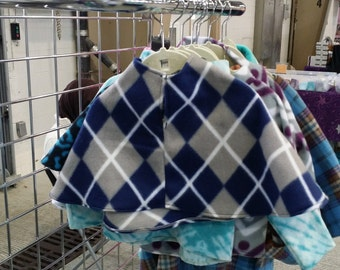 Fleece Blue and Gray Argyle Infant Poncho (size 18-24 months)
