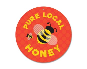 """Pure Local Honey Sign 9"""" round (coral) SKU: SR9007"""