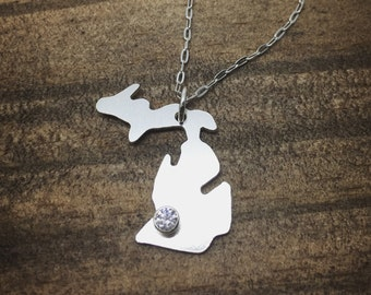 Sterling Silver and CZ Michigan Necklace