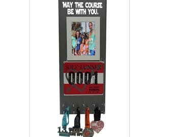 Gifts for runners, A Race Bib Hanger: Always earned never give, Bibs, medals and picture frame Holder