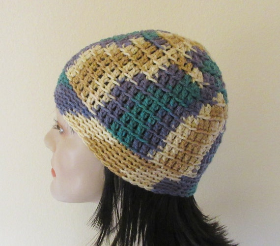 Purple Tan Beige Teal Crochet Beanie, Cold Weather Accessory, Ski Hat, Hockey Mom, Snow Playing, Ice Skating