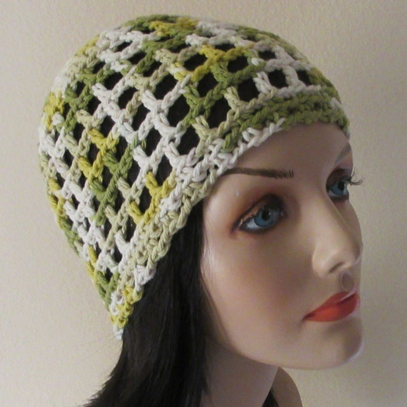 Green White Crochet Open Weave Beanie Cotton Open Weave Beanie Cotton Hat Warm Weather Hat Spring Beanie Summer Beanie