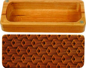 "Depth pattern Stash Box, 5"" x 2"" x 1"", Pattern ST2, Solid Cherry, Rare Earth Magnets for closure and security, Paul Szewc, Masterpiece Laser"