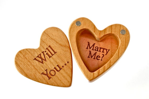 """Engagement Heart Shaped Box, 2-1/4""""  x  2-1/4"""" X 1"""" d, H29 Slender, Solid Cherry Wood, """"Will You... Marry Me?"""", Paul Szewc"""