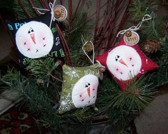 Christmas Ornaments SET of 3 Three Snowman Snowmen Ornaments from Darlas Closet