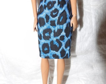 Fashion Doll Coordinates - Blue & black Leopard print skirt - es438