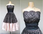 RESERVED Vintage 1950s Dress / 50s Black Lace Blush Satin VLV Party Dress Full Skirt / Small