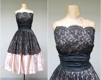 Vintage 1950s Dress / 50s Black Lace Blush Satin VLV Party Dress Full Skirt / Small