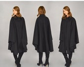 HOLIDAY SALE 80's Black WOOL Cape Coat