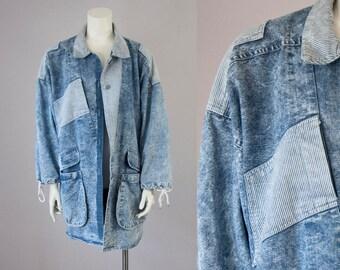 80s Vintage Denim Stone Washed Striped Oversized Jacket (M, L, XL)