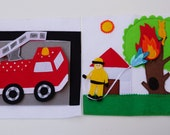 Double Page: Fireman and Fire Truck / Busy Book / Quiet Activity Book / Soft Activity Book / Fabric Activity Book / 2 Years Birthday /