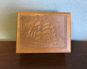 Vintage Wood Carved Sailboat Stashbox