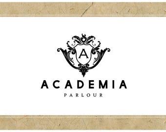 Custom Logo Design - PreDesigned Logo PreMade Logo Vector Logo - OOAK Logo - ACADEMIA Logo Branding - Gothic Chic Logo - Victorian Logo