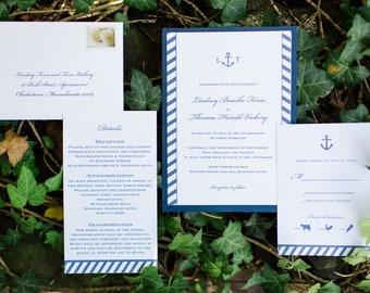 anchor stripe invitation