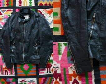 Vintage 1960's 1970's Black Leather Motorcycle Jacket/ Distressed/ Retro Men's Size 38