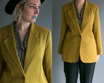 Vintage 80's Olive Green Wool Oversized Blazer Women's Medium Large