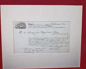 1851, Matted Bill of Lading, Maritime, Shipping, Nautical, Framing, Décor, Paper Ephemera, Acid Free Matting, Picture