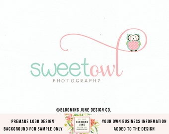 owl logo newborn logo woodland logo doula logo birth logo baby logo party logo sewing shop logo premade logo photography logo watermark
