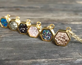 Tiny Druzy Necklace, Druzy Jewelry, Drusy Necklace, Layering Necklace, Gemstone Necklace, Gemstone Jewelry