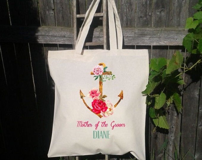 Mother of the Bride, Mother of the Groom, Wedding Tote Bag, Canvas Tote, Anchor with Flowers, Nautical