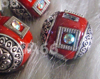 Vintage Look DIY Detailed Beads Red Silver Color 18mm 4p with details, Crystal AB Rhinestones Through hole for jewelry making