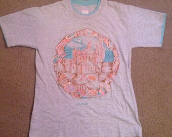 Vintage souvenir Florida seapunk t-shirt seashell sand castle beach ocean medium glitter