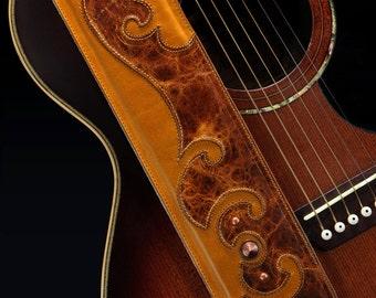 Brown Guitar Strap, Tan Guitar strap:  Shimmerhawk Guitar Strap