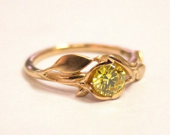 Leaves Engagement Ring No. 6, 14K Rose Gold and Yellow Diamond engagement ring, leaf ring, Fancy Diamond Ring, Yellow Diamond