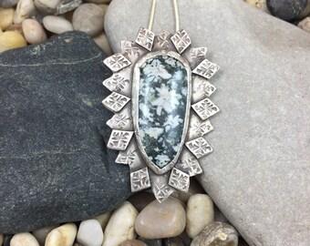 Chrysanthemum Jasper pendant, Snowflake Jasper necklace, stamped sterling silver pendant