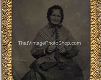 Tintype Photograph Grandmother Knitting, holding needles