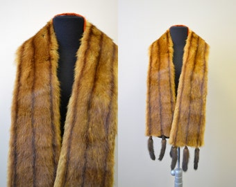 1960s Fur Scarf with Tail Fringe
